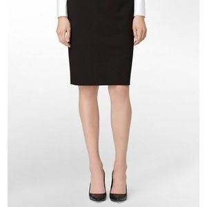 Calvin Klein 14W Solid Black  Pencil Skirt 3Y56